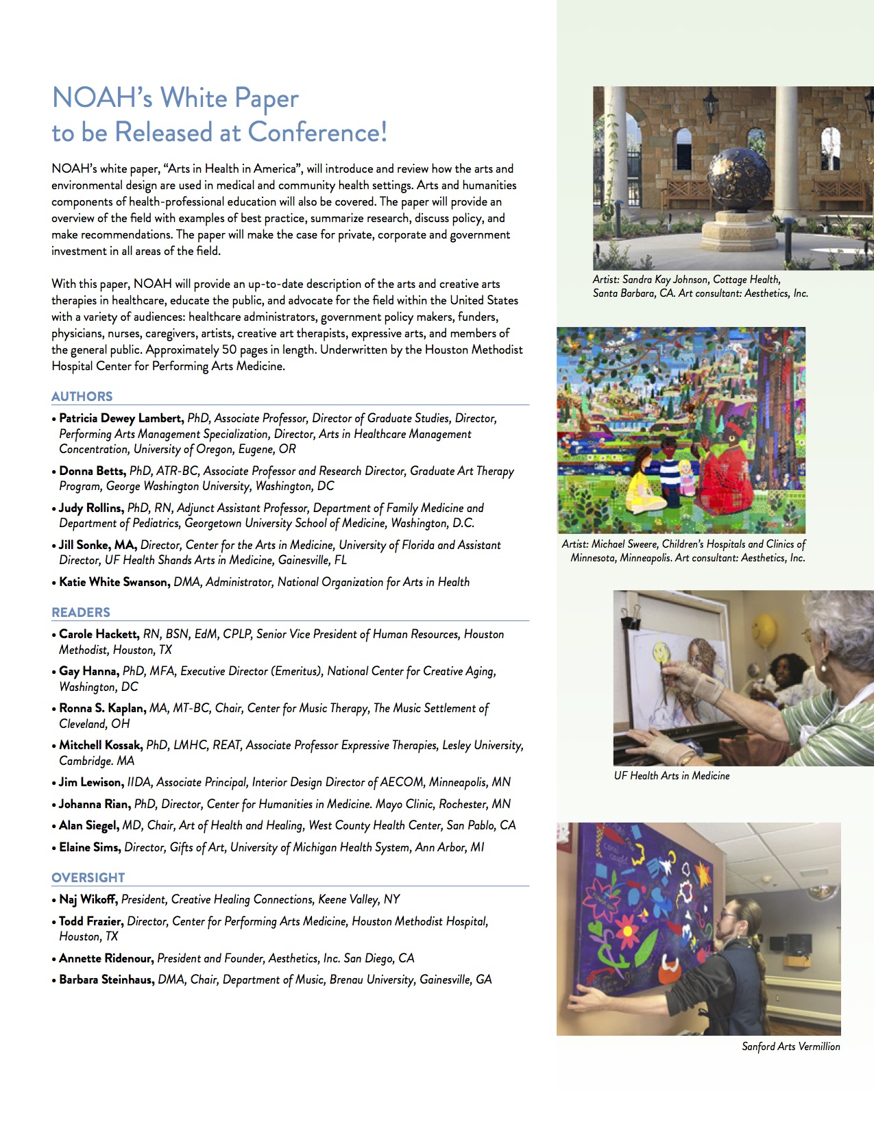 noah conference brochure presentation lineup special events and
