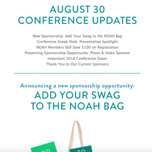 NOAH Conference Newsletter Aug 30 2018
